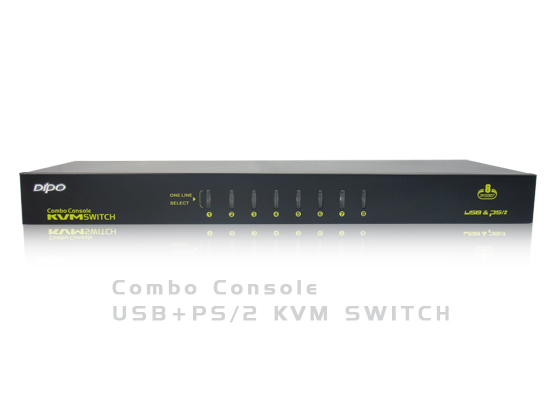 8Port USB+PS/2 KVM Switch(1U,Metal)