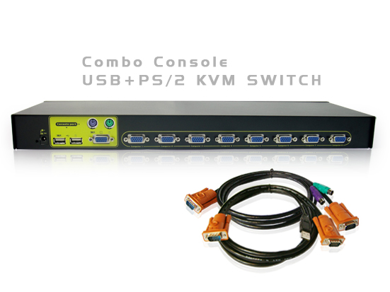 8Port USB+PS/2 KVM Switch