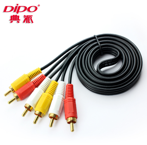 DIPO 3 to 3 RCA Analog Audio Video  Yellow Red and White gold Cables